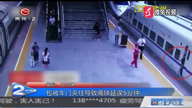 女大学生赶高铁太慌张 包被夹住造成列车晚点5分钟