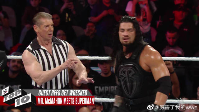 WWE十大嘉宾裁判被打事件,老麦遭罗门无情飞冲肩