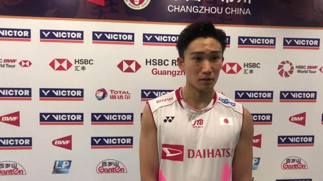 桃田贤斗:今天球馆风很大,球有些飘不好控制。对于奥运会