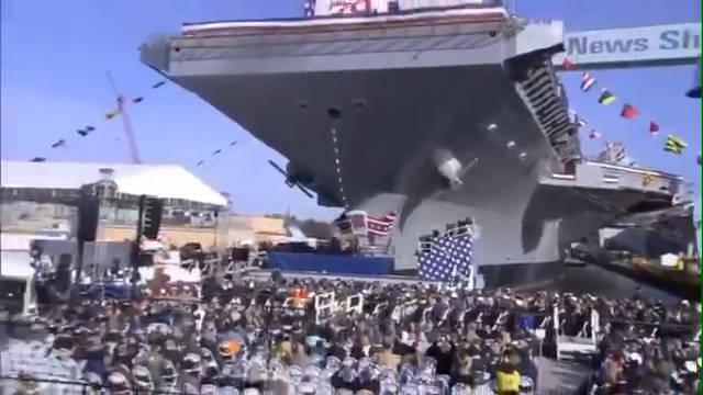 """福特级航母二号舰""""约翰·F·肯尼迪号""""航空母舰举行命名下水仪式"""