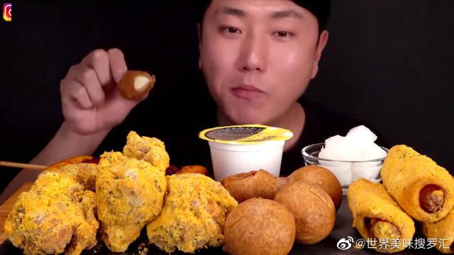 韩国大胃王吃炸鸡腿,搭配奶酪球和热狗往嘴里塞,吃相太诱人了!