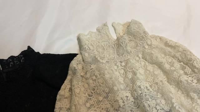 衣领高度对比及和网上一百出头的蕾丝面料复重对比。