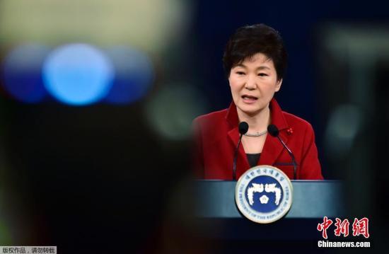 当地时间2015年1月12日,韩国总统朴槿惠在青瓦台春秋馆举行新年记者会,介绍执政第三年的政府运营方案。