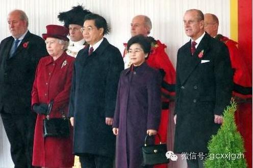 胡锦涛和夫人刘永清与英国女王伊丽莎白二世。