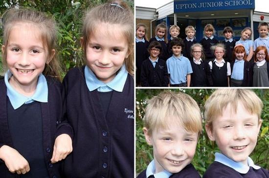 英国又有7对双胞胎进入了同一所小学,让人看花了眼。