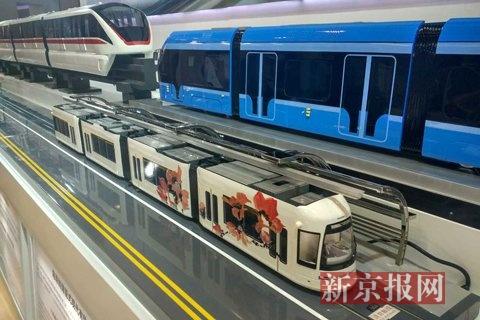 北京国际城市轨道交通展上的储能式现代有轨电车。新京报记者 信娜 摄