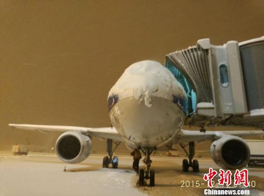受暴雪天气影响,乌鲁木齐机场201架进出港航班延误旅客滞留。 王文莉 摄