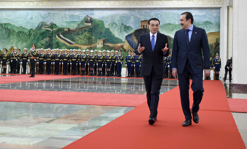 李克强为哈萨克斯坦总理马西莫夫举行欢迎仪式