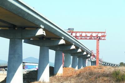 宁高城际轨道交通溧水段正在加紧施工