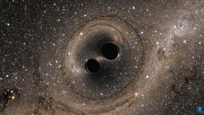 探测到的引力波源自两个黑洞碰撞的想象图。图/CFP