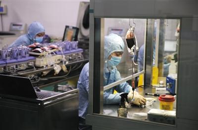 北京脐血库制备室里,工作人员将采集到的脐带血进行处理。