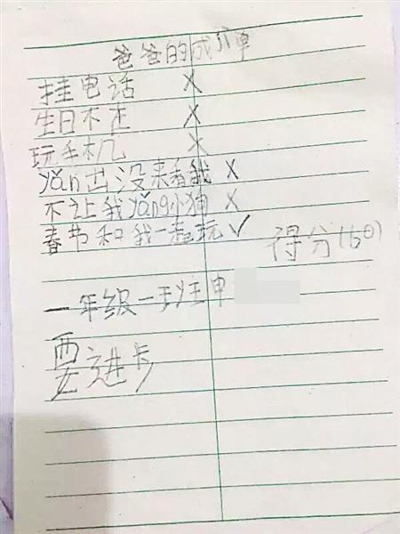 申先生女儿写给爸爸的成绩单