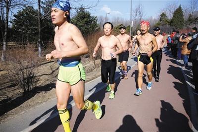 """一队""""光猪""""在领跑人的率领下穿过人群。"""