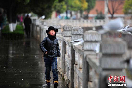 材料图 头戴保暖帽的小男孩在翠湖边游玩。 中新社记者 刘冉阳 摄