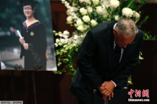 资料图:美国南加州大学悼念遇袭身亡的中国留学生纪欣然