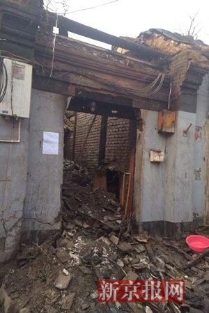 失火后的鹞儿胡同8号院。见习记者 张建 摄