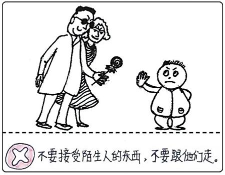 安全知识简笔画-小朋友走丢了怎么办 他手绘漫画教女儿安全知识