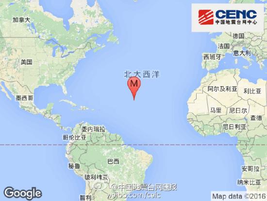 中大西洋海岭北部发生6.0级地震 震源深度10千米