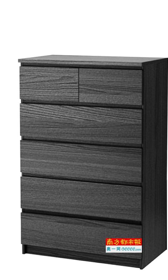 """在北美召回的宜家""""马尔姆""""系列抽屉柜包括图中该款五屉柜。"""