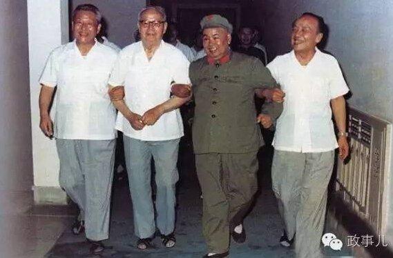 图为1980年5月,习仲勋(左一)和叶剑英(左二)、许世友(左三)、杨尚昆在广州合影