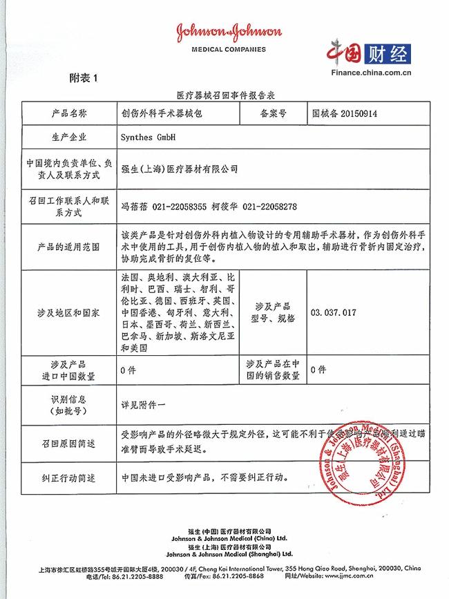 强生(上海)宣布召回创伤外科手术器械包