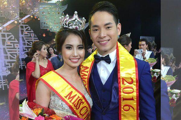 2016菲华小姐吴茜莉(Shirley Vy)女士,2016菲华先生王汉民(Jan Louie Ngo)先生。
