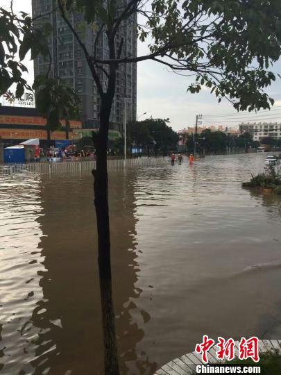 图为强降雨招致昆明局部路段积水重大。 网友供给 摄