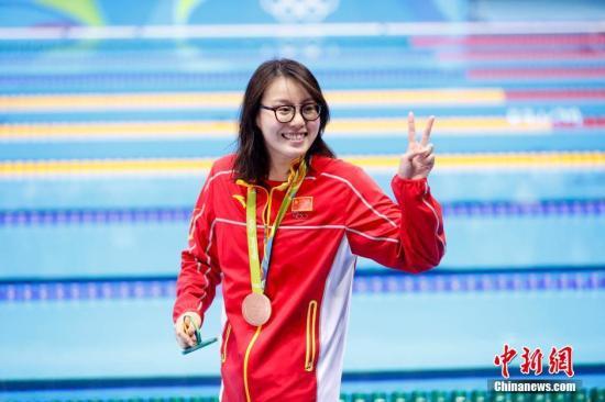 当地时间8月8日,在2016里约奥运女子100米仰泳决赛上,中国选手傅园慧以58秒76夺得铜牌。中新网记者 杜洋 摄