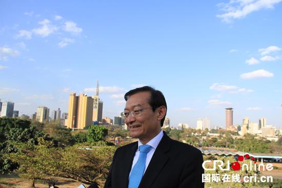 8月28日,中国副外长张明在第六届东京非洲发展国际会议闭幕后于内罗毕接受中国媒体采访。(王新俊 摄)