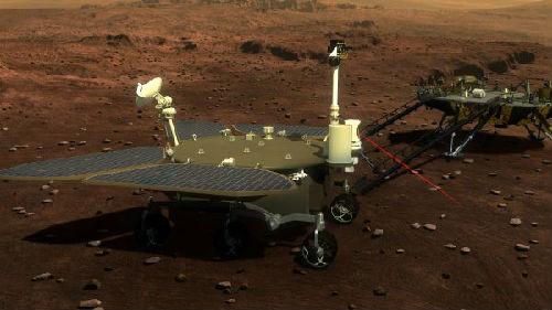 """图说:这是火星车与着陆巡视器外观设计构型图。火星车有4个""""大翅膀""""――太阳能电池板。新华社发(国防科工局探月与航天工程中心供图)"""