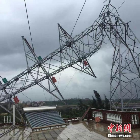 15日,福建台风红色预警、暴雨黄色信号高挂。图为福建晋江110KV永东线4塔受台风影响塔身被折断。 曾蒿 摄