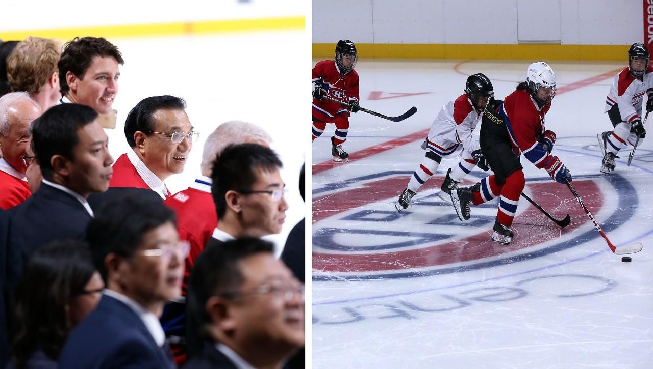 """加拿大上演""""冰球总理"""",视频外交去看球精彩动图现场跟着视频排线机图片"""