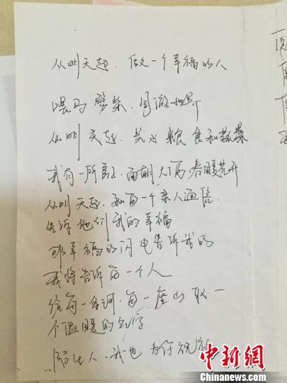 芦海清摘抄的海子诗。 钟欣 摄