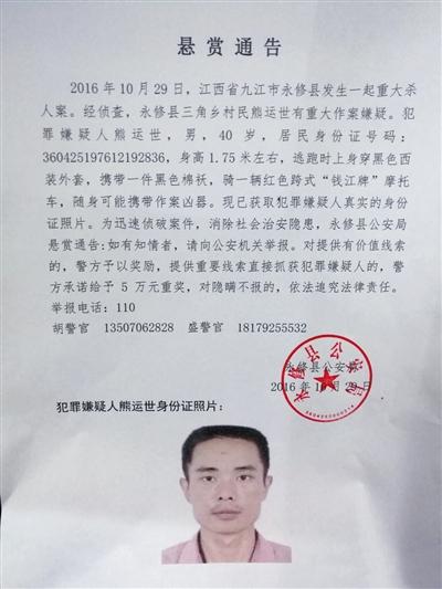昨日,江西省永修县公安局先后两次发布悬赏通告,悬赏金额从5万升至20万。