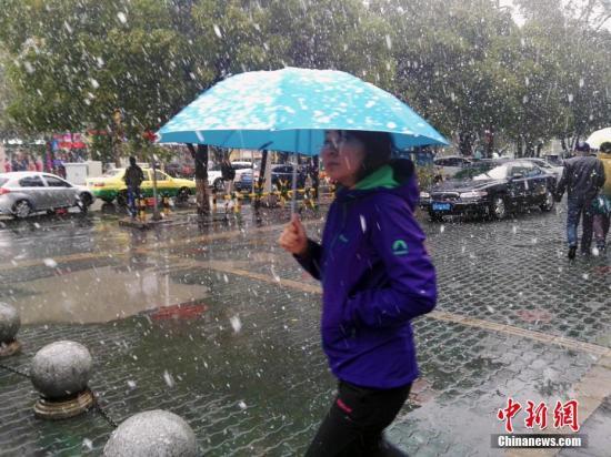 材料图:10月19日12时许,乌鲁木齐的降雨忽然酿成漫天的雪花,停止15时许,降下鹅毛般大雪,来势汹汹,气温降至零度如下。乌鲁木齐明园BRT车站左近看到,女人打着伞、衣着厚衣物,以抵防北风和降雪的侵袭。中新社记者 王小军 摄