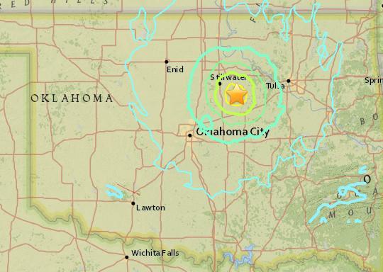 美国俄克拉荷马州发生5.3级地震 震源深6.1公里