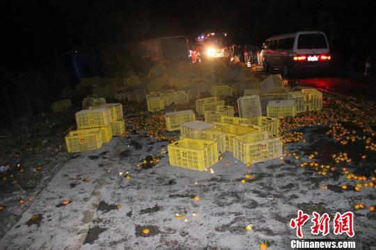 图为货车装载的柑橘散落一地。 何雪明 摄