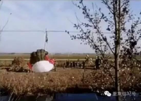 11月12日,事发现场一个降落伞挂在田间的电线杆上。目击者供图
