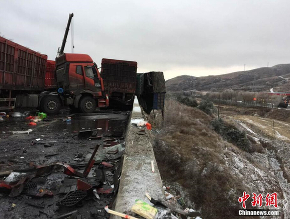 京昆高速山西段车祸已致17死37伤 56辆车受损