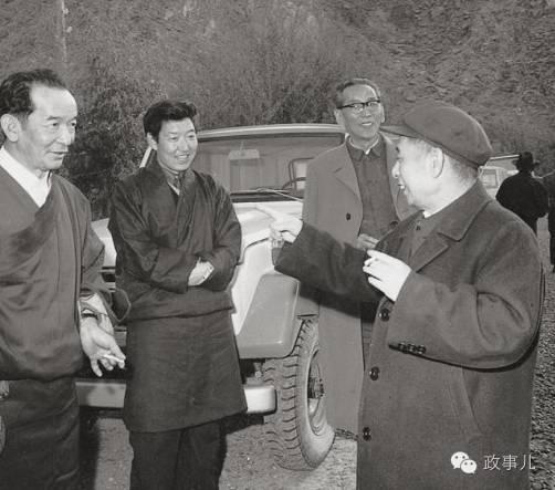 图:1980年5月陪同胡耀邦在西藏考察。左二为帕巴拉·格列朗杰