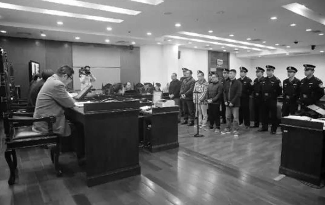 △卢某等人在法庭受审