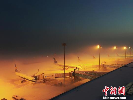11月28日,乌鲁木齐国际机场遭冻雾侵袭致航班延误或取消,滞留旅客5000余人。 朱柏霖 摄