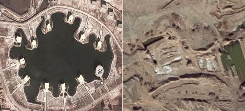 图4甘肃张掖黑河湿地保护区旅游设施(左)和采石场(右)遥感影像图