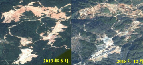 图2湖北九宫山保护区工矿用地规模扩大遥感影像