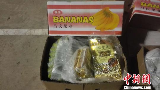 图为警方在装有香蕉的水果箱里查获冰毒片剂。 警方供图