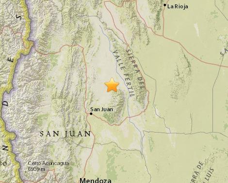 阿根廷中西部发生5.4级地震 震源深度10公里