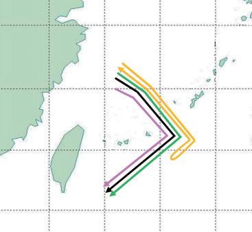 日方10日公布的中国军机飞行路线图。
