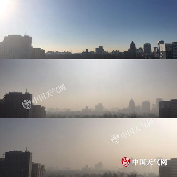 北京市海淀区,上午9时、12时至下午14时,空气质量逐渐转差对比明显。(摄影:赵嫣嫣)