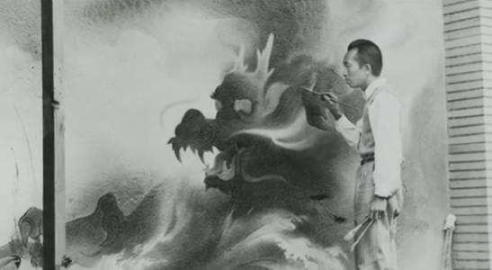 他的壁画不乏中国元素