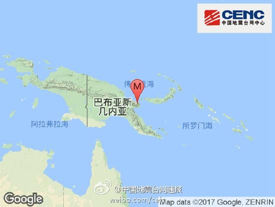 巴布亚新几内亚发生5.8级地震 震源深度60千米